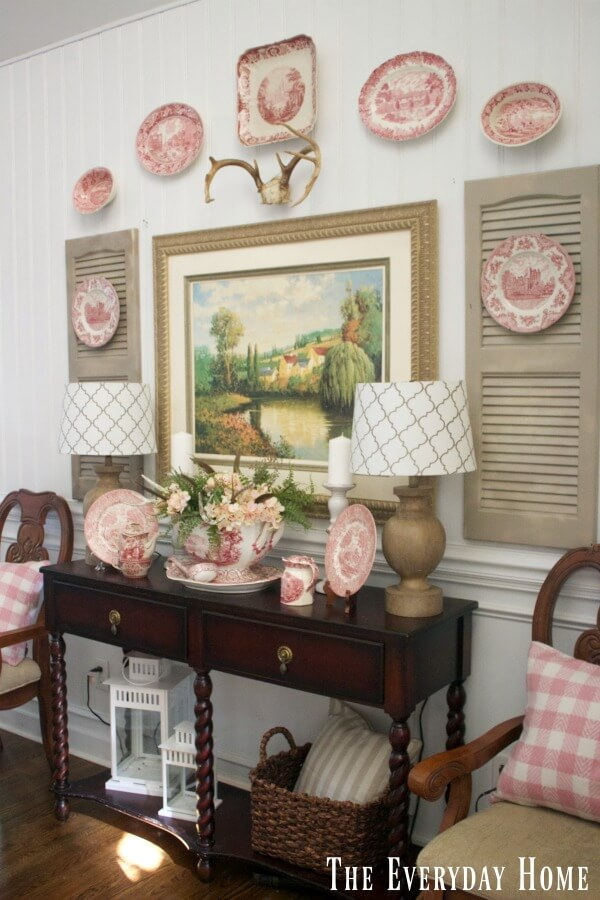 Wall Display of Antique Plate Set