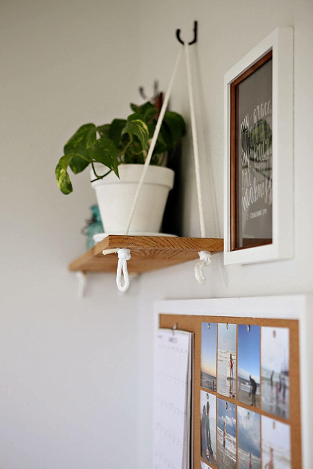 Simple Hanging Wooden Plank Shelf