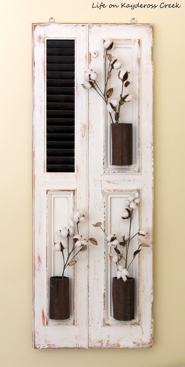 Beautiful Cotton Stem Upcycled Shutter