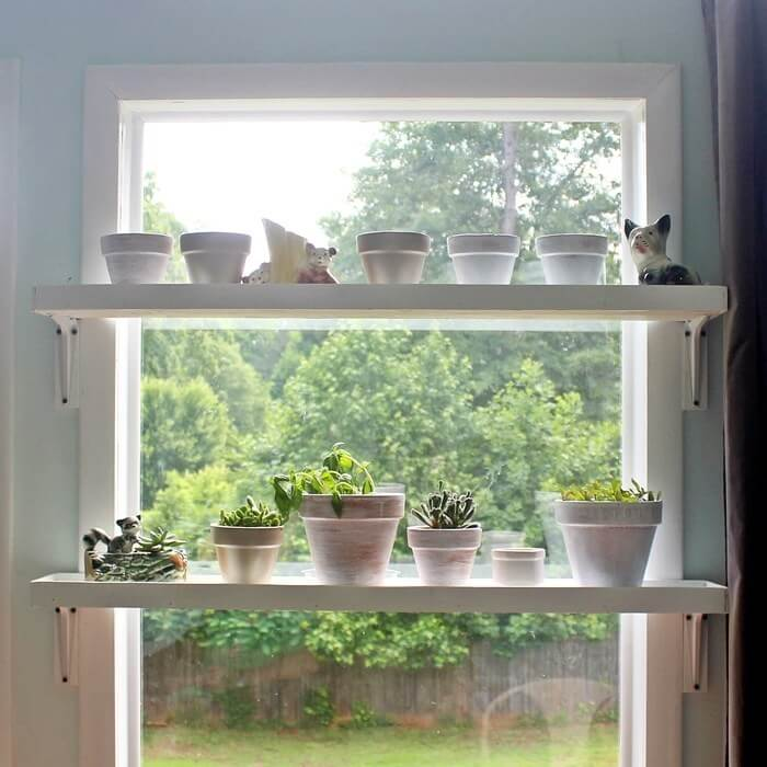Across the Window Plant Shelves