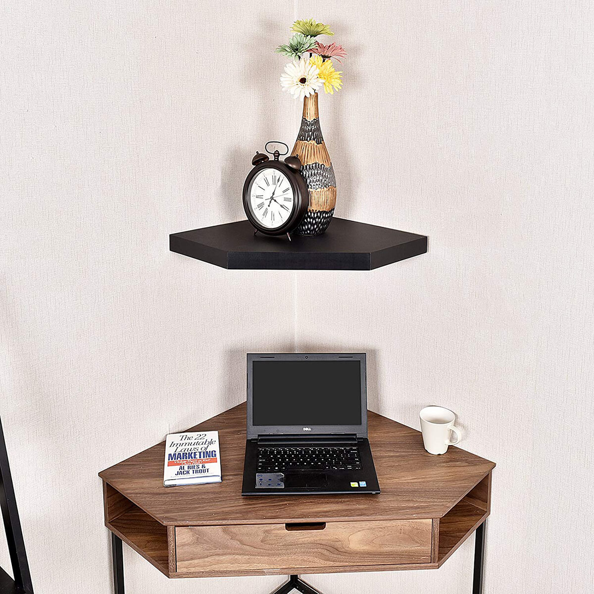 Diamond Solitaire Wall Mounted Corner Shelf