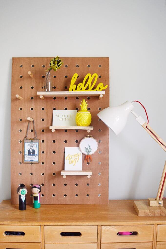 Moveable Peg Board Decorative Shelves