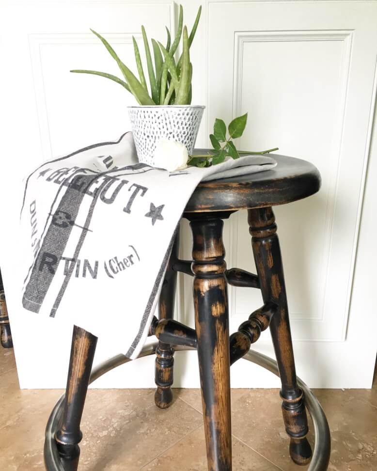 Shabby Chic Worn Stool Stand