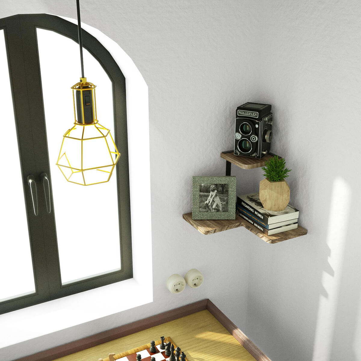 Stunning Lego-Shaped Rustic Corner Shelf
