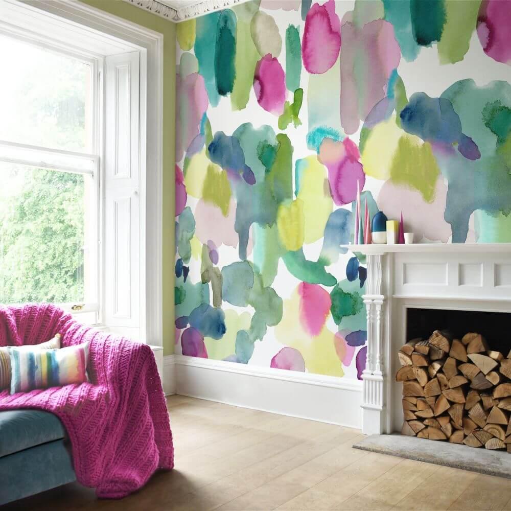 Watercolor Painted Living Room Mural
