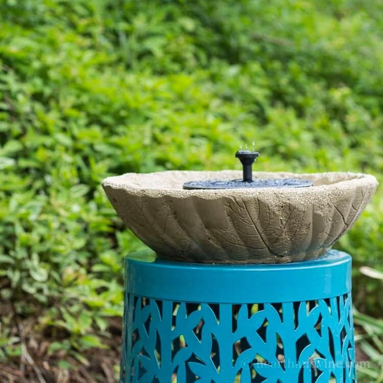 Concrete Fountain or Bird Bath with Leaf Imprints