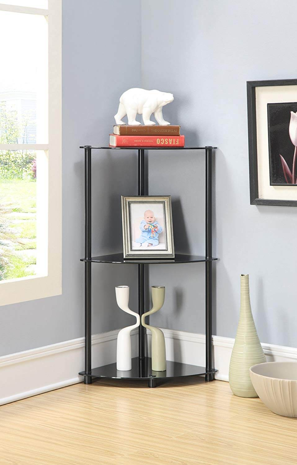 Metal and Glass Free-Standing Shelf
