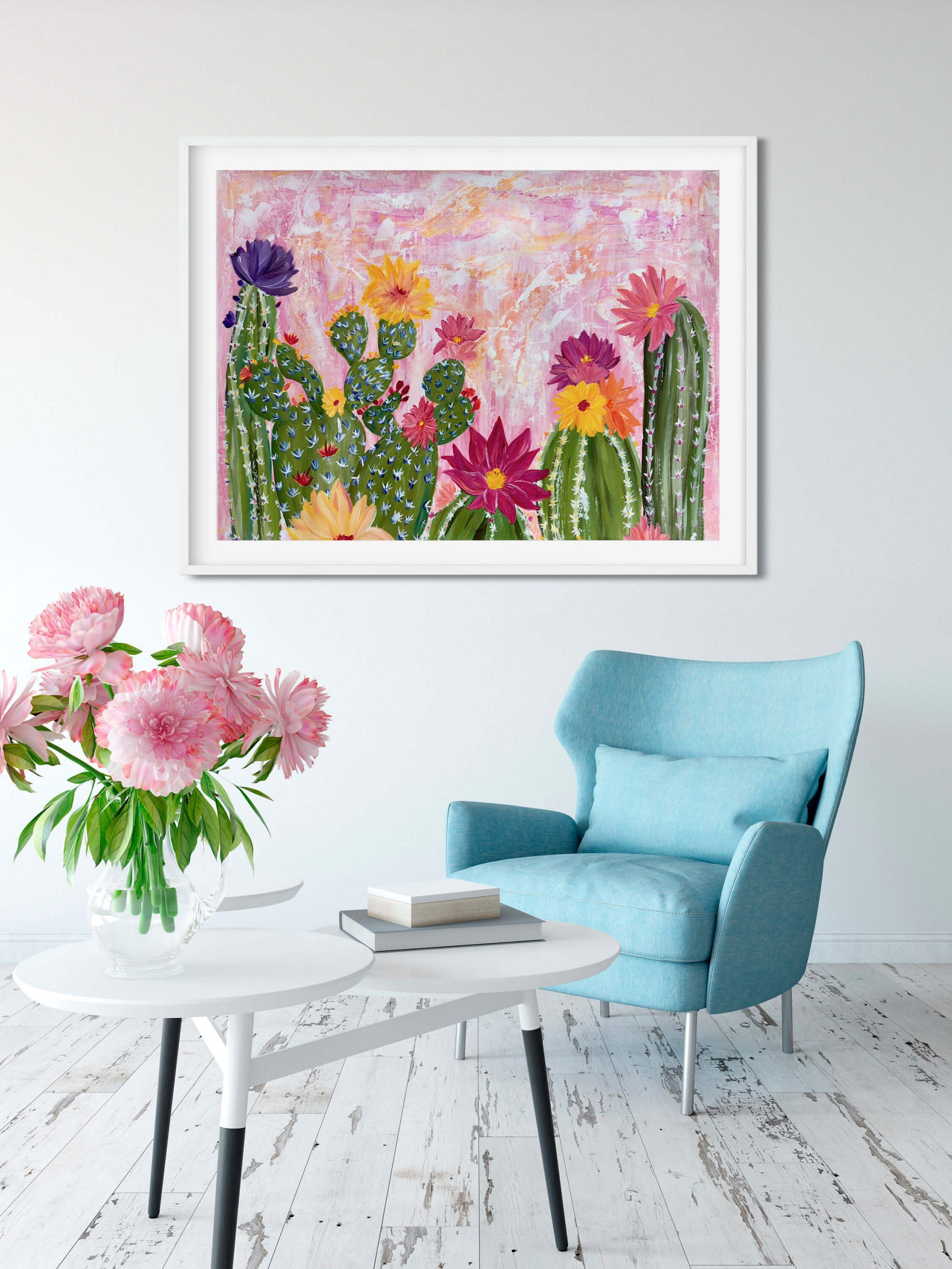 Flowering Cacti at Sunset Painting