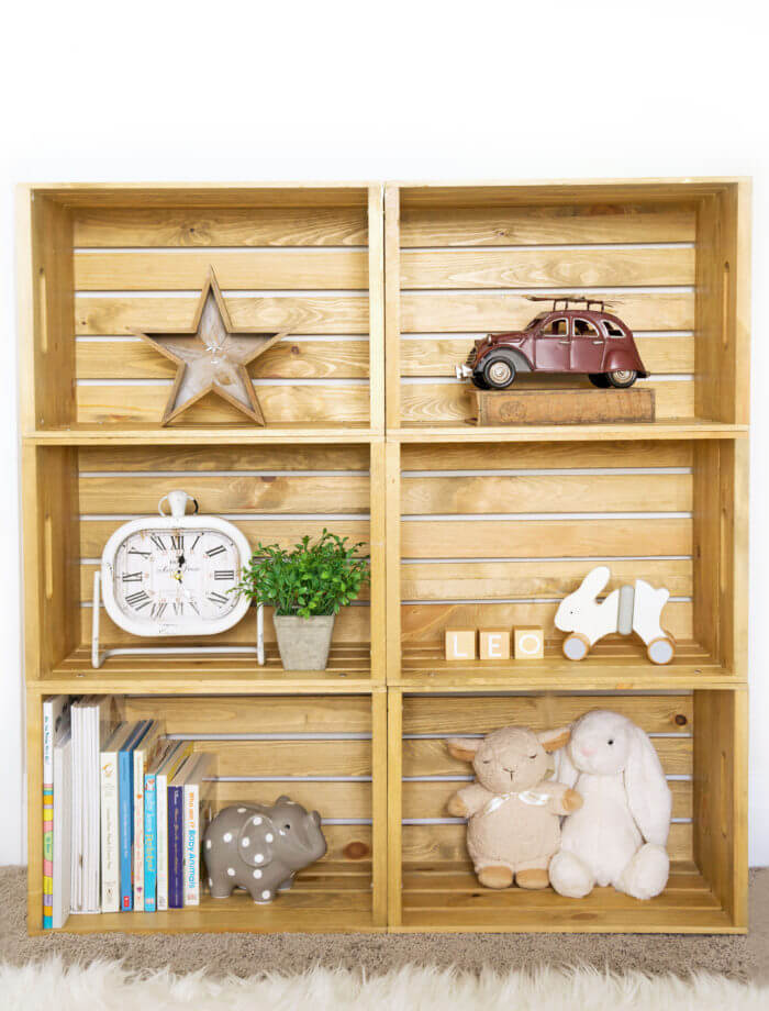 Warm Wooden Crate Cubby Shelves