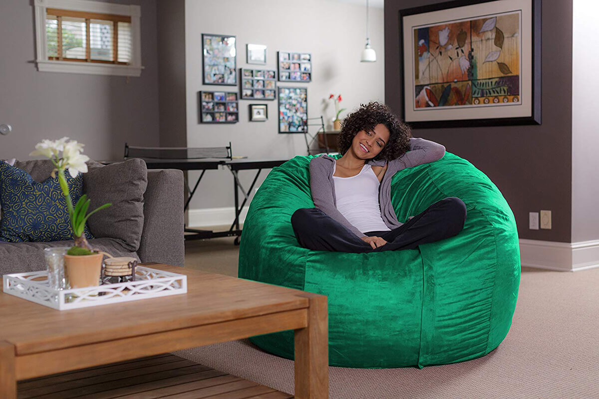Microsuede Sofa Sack Beanless Bag Chair for Dorm Rooms