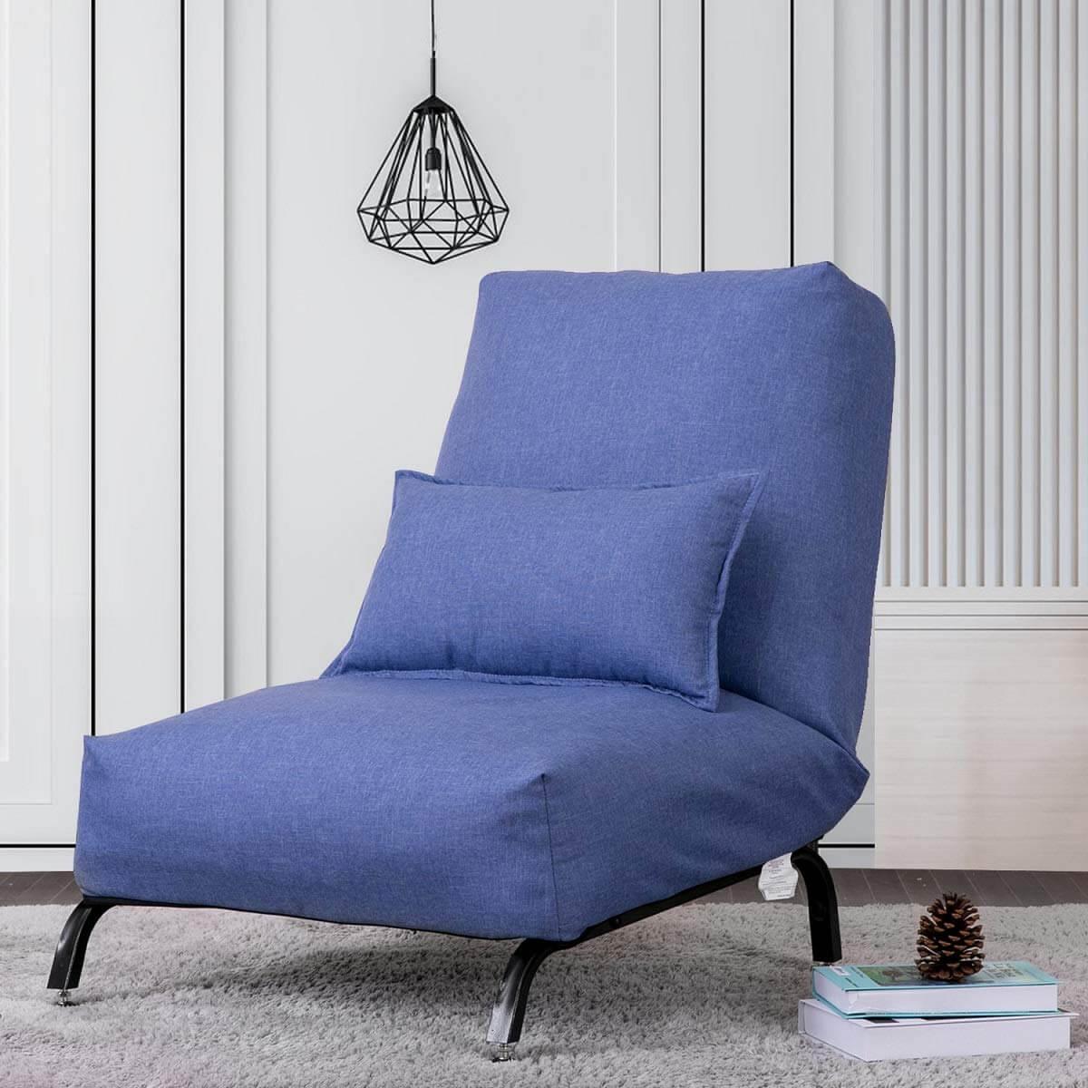 Soft Light Blue Linen Tub Chair