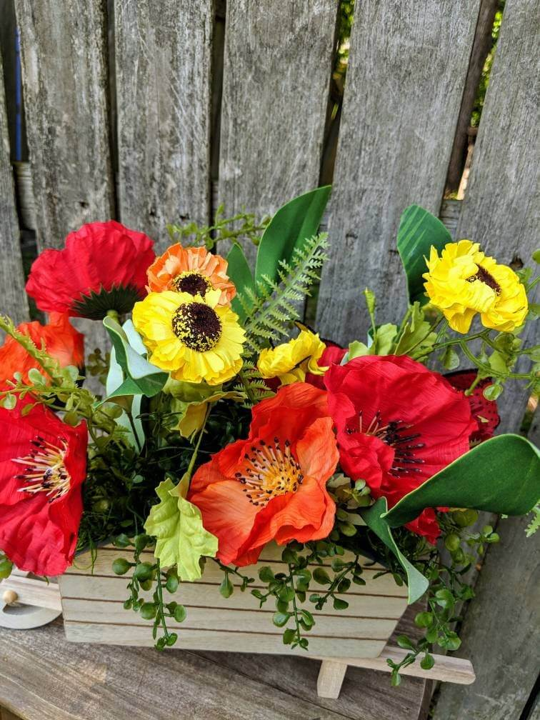 Wooden Wagon Planter Box Summer Arrangement