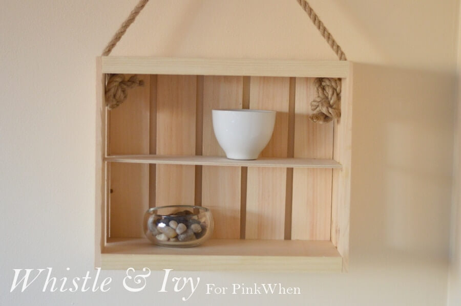 Hanging Box Shelf with Natural Rope