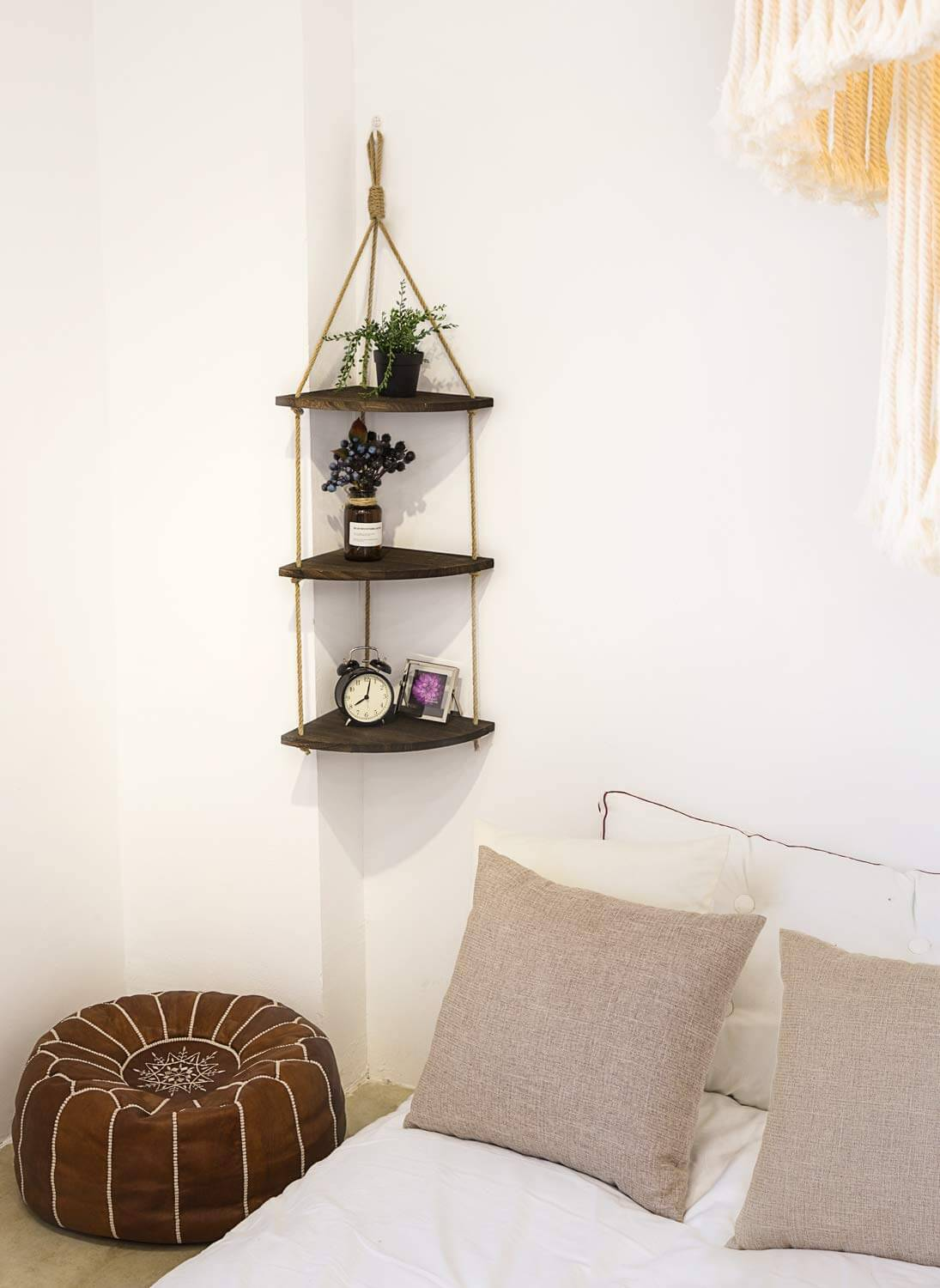 Gorgeous Farmhouse-Chic Rope Detail Corner Shelf