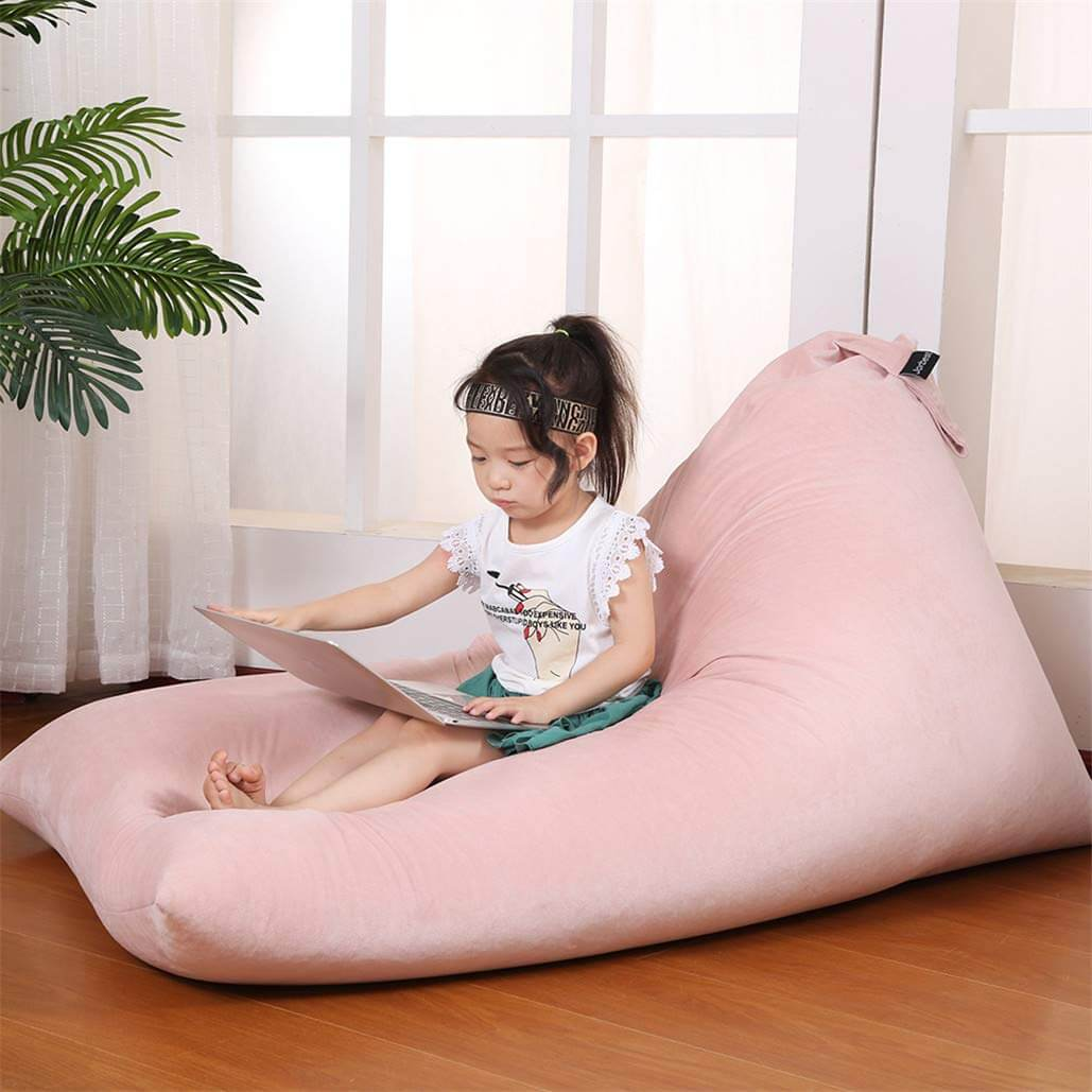 Luxury Velvet Stuffed Animal Storage Bean Bag Chair