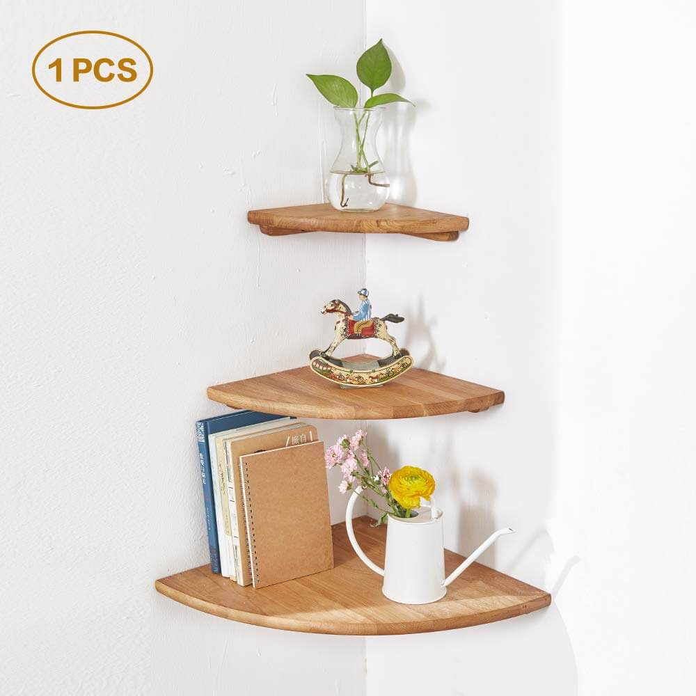 Striking Curved Floating Triangle Corner Shelf