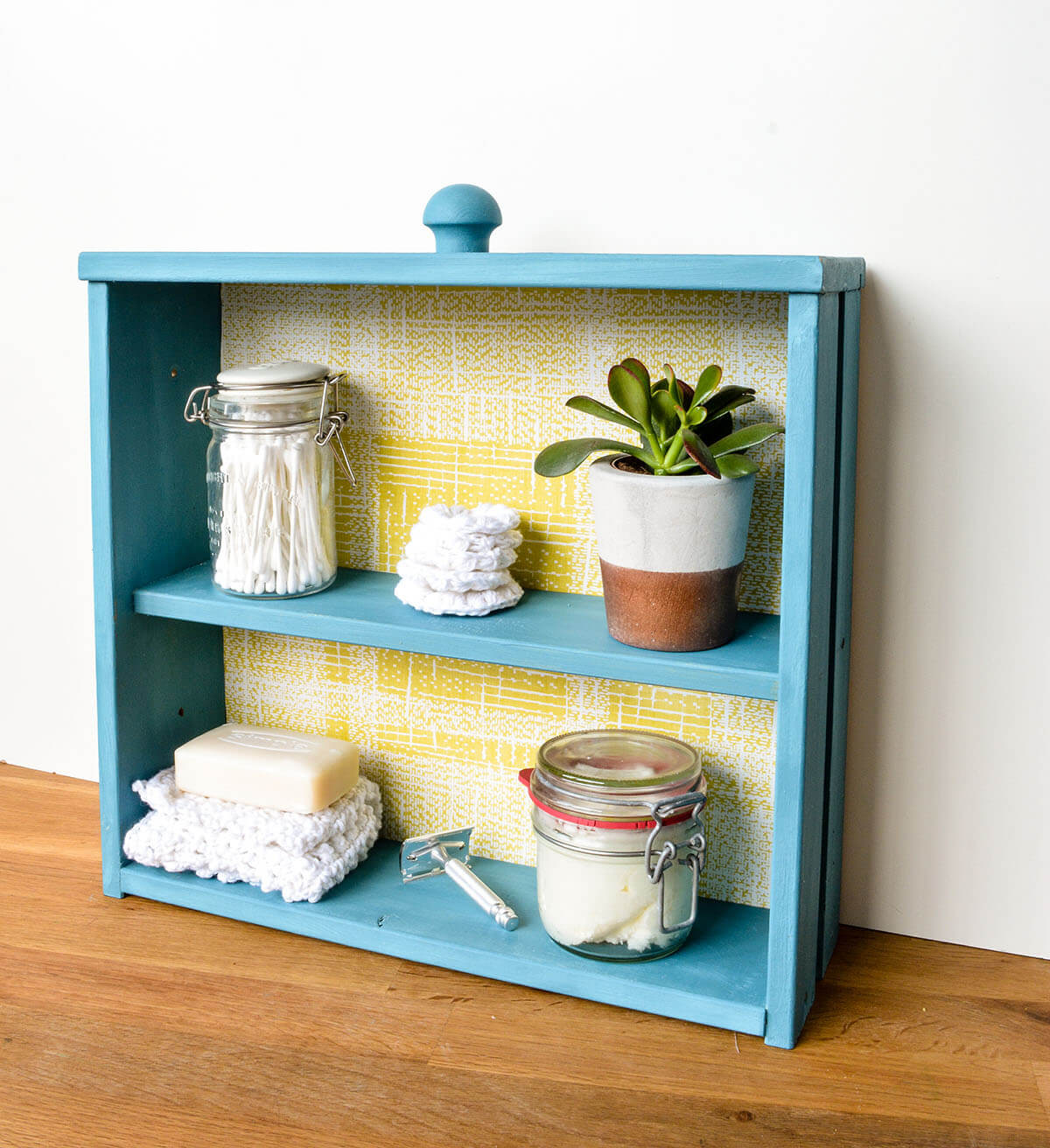 Cheerful Repurposed Drawer Tabletop Cabinet