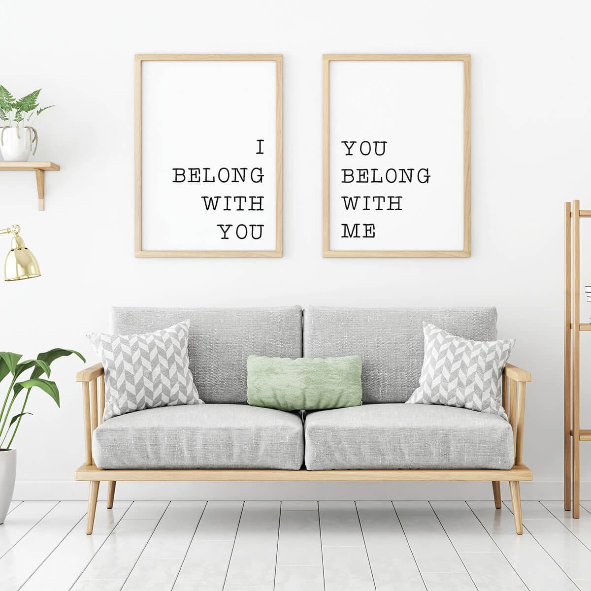 Romantic Two-Part Artistic Panel Prints