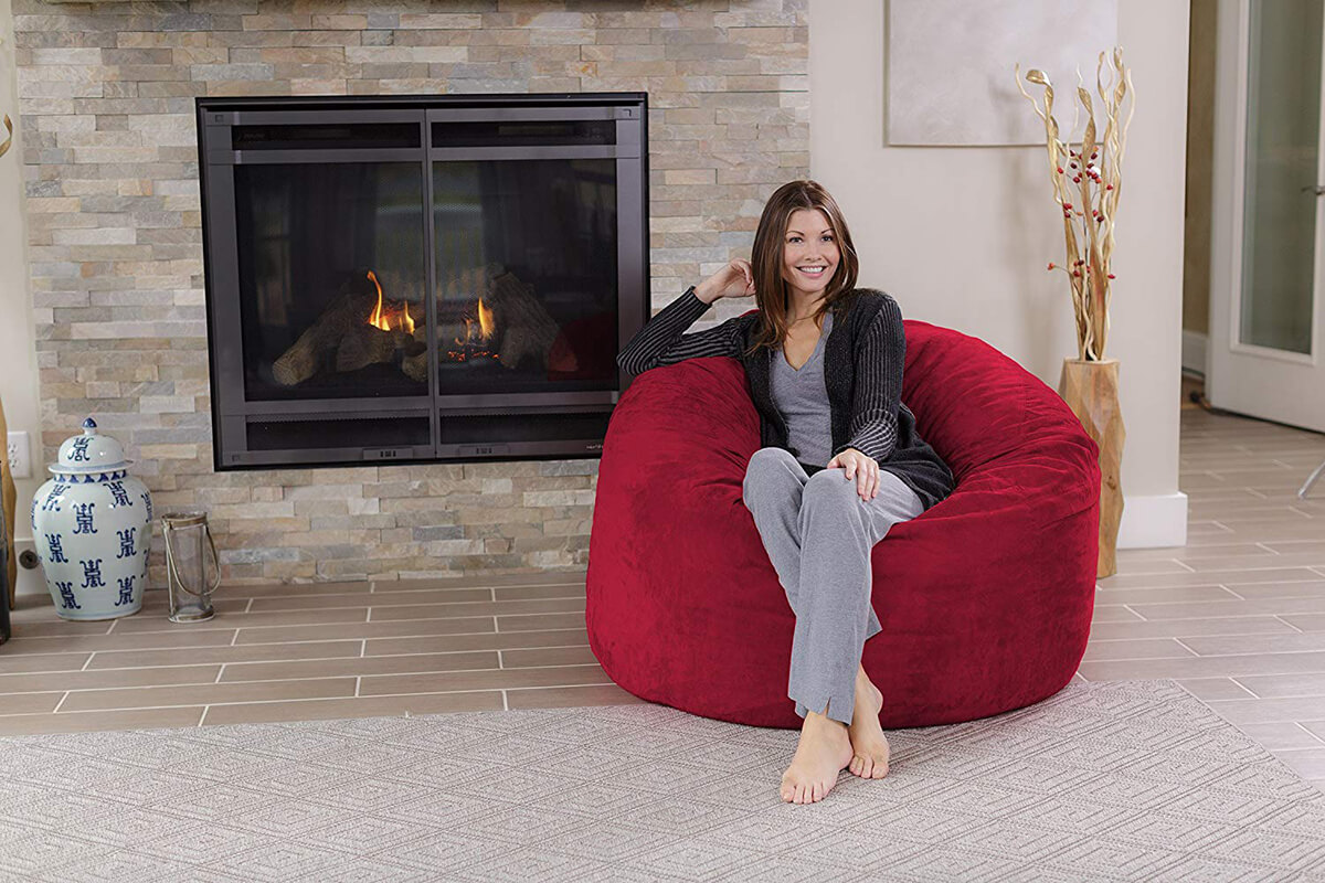 Chill Sack Giant 4' Memory Foam Cinnabar Sofa
