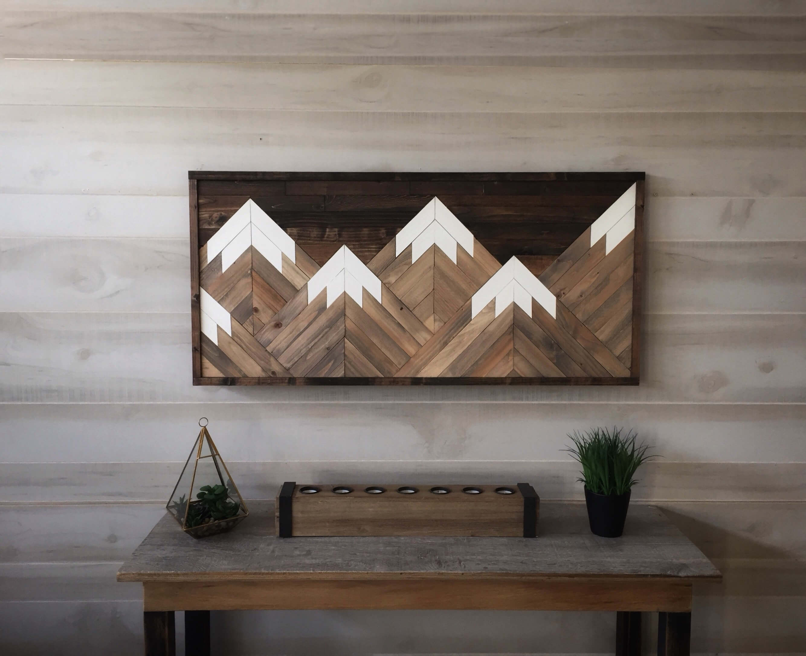 Mountain Range Reclaimed Wood Wall Art Homebnc