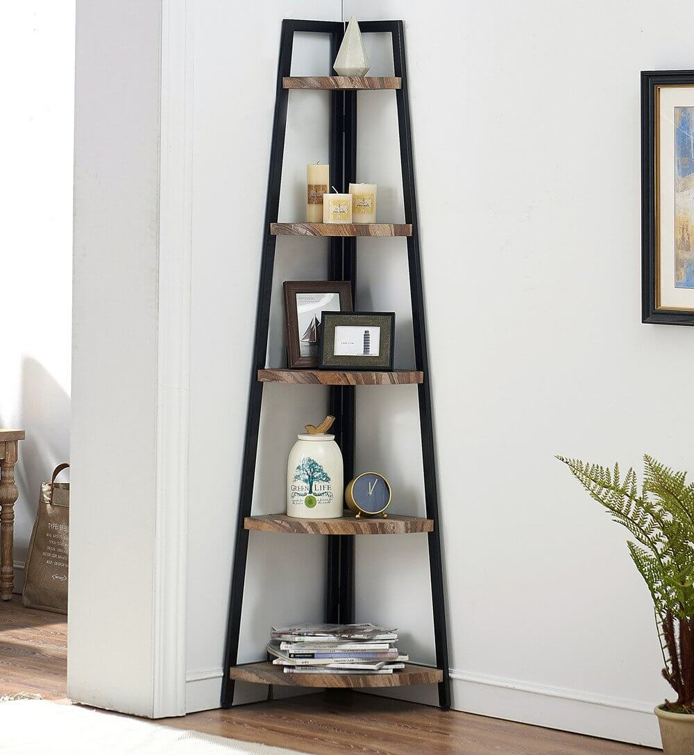 Sophisticated Ladder-Style Corner Shelf