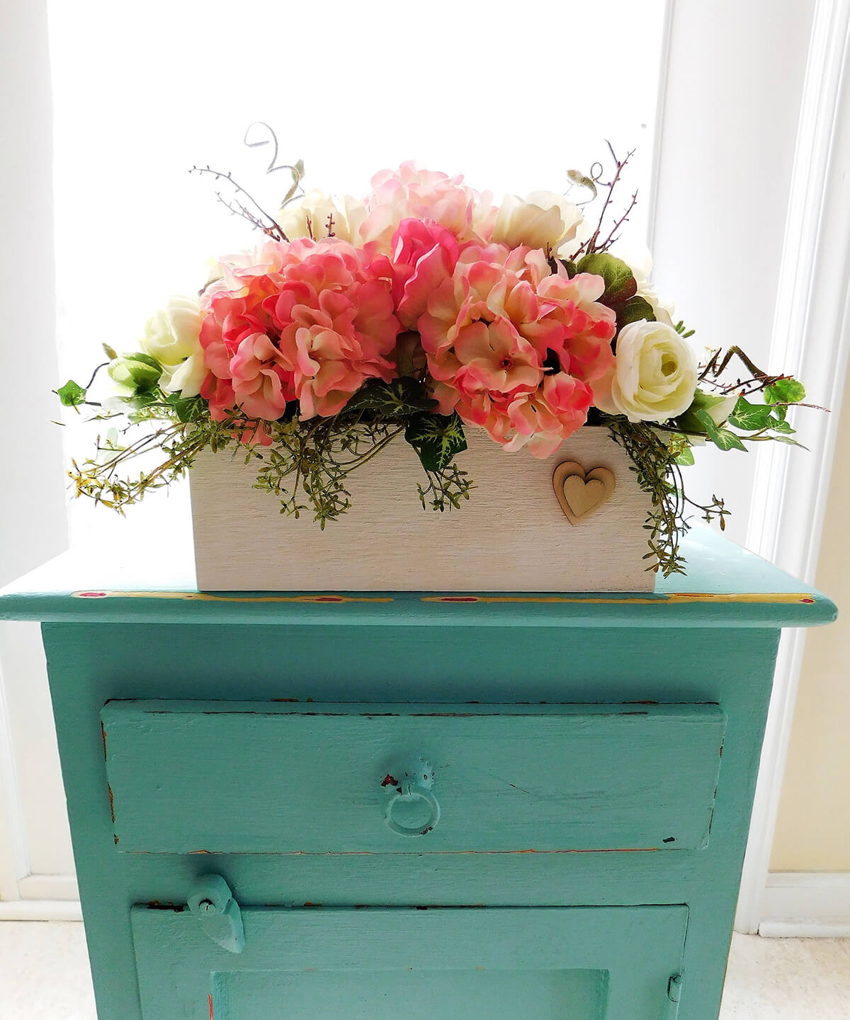 Cottage Chic Planter Box Display