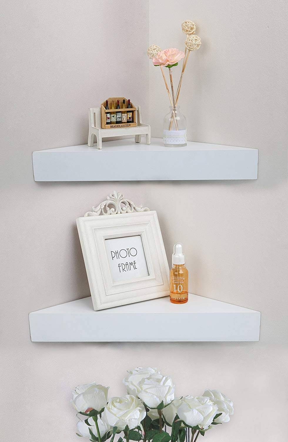 Sleek White Floating Triangle Corner Shelves