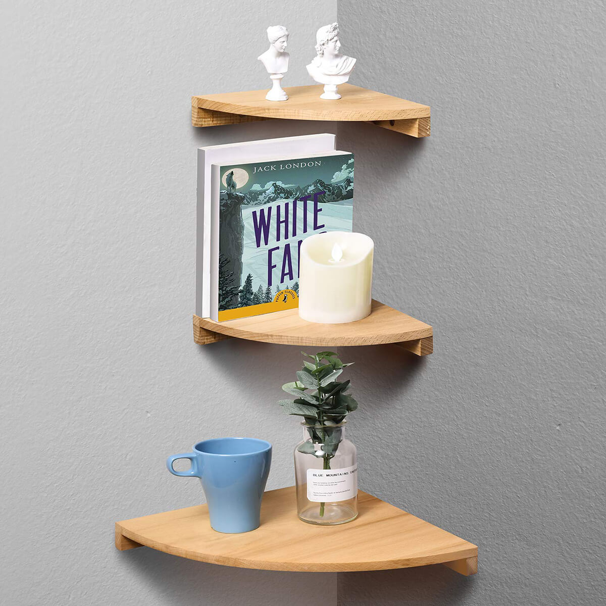 Warm Floating Beech Wood Graduated Wall Shelf