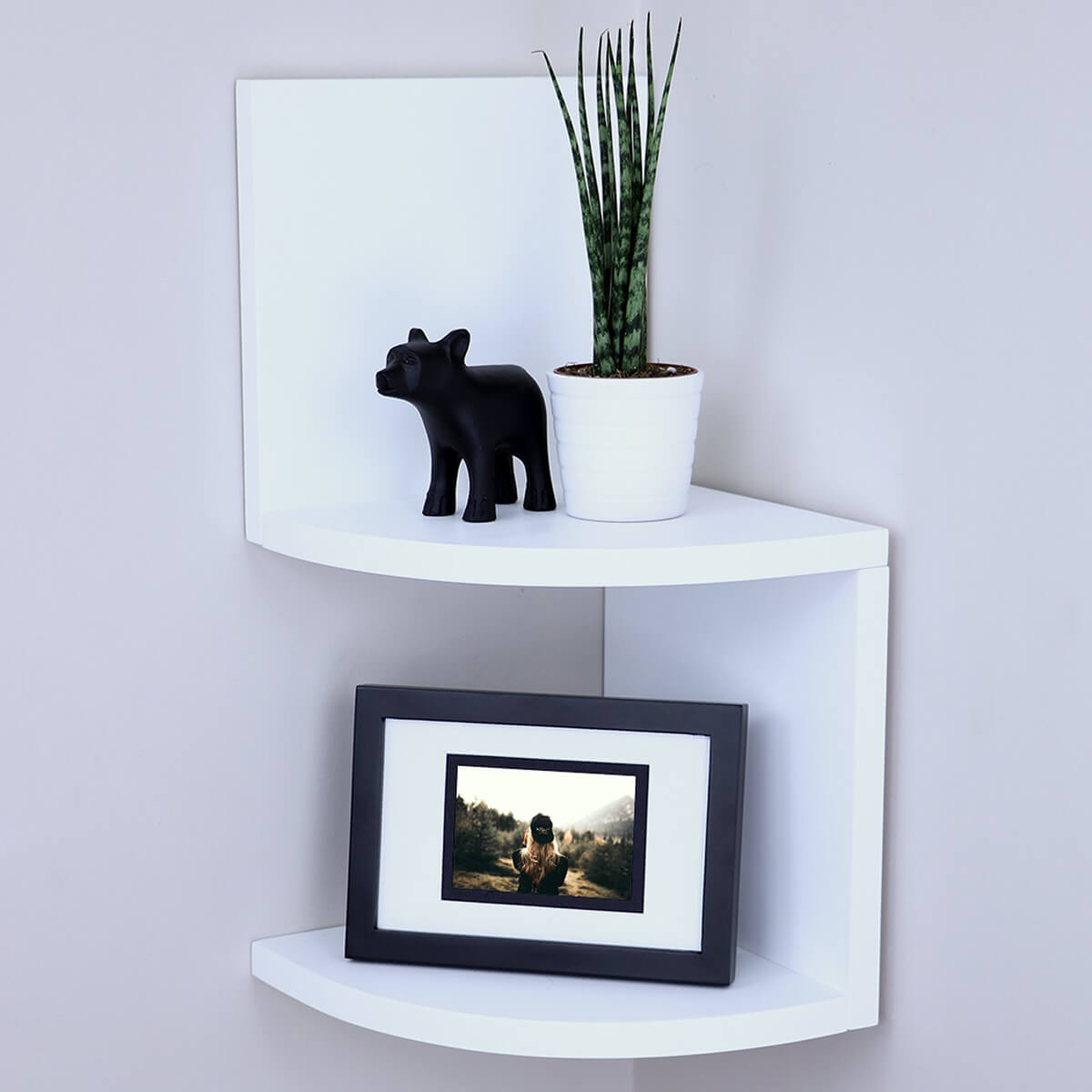 Modern White Zig Zag Wall Shelf