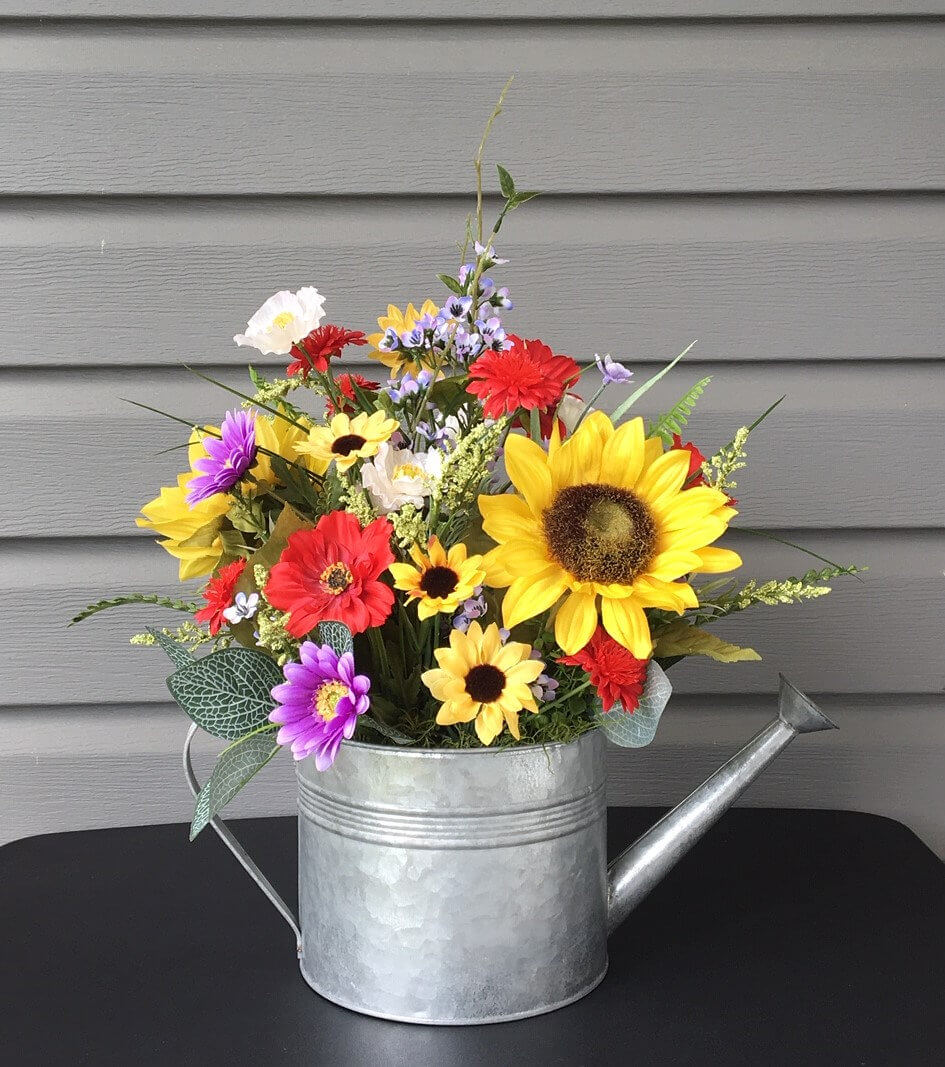 Sunflower Farmhouse Watering Can Arrangement