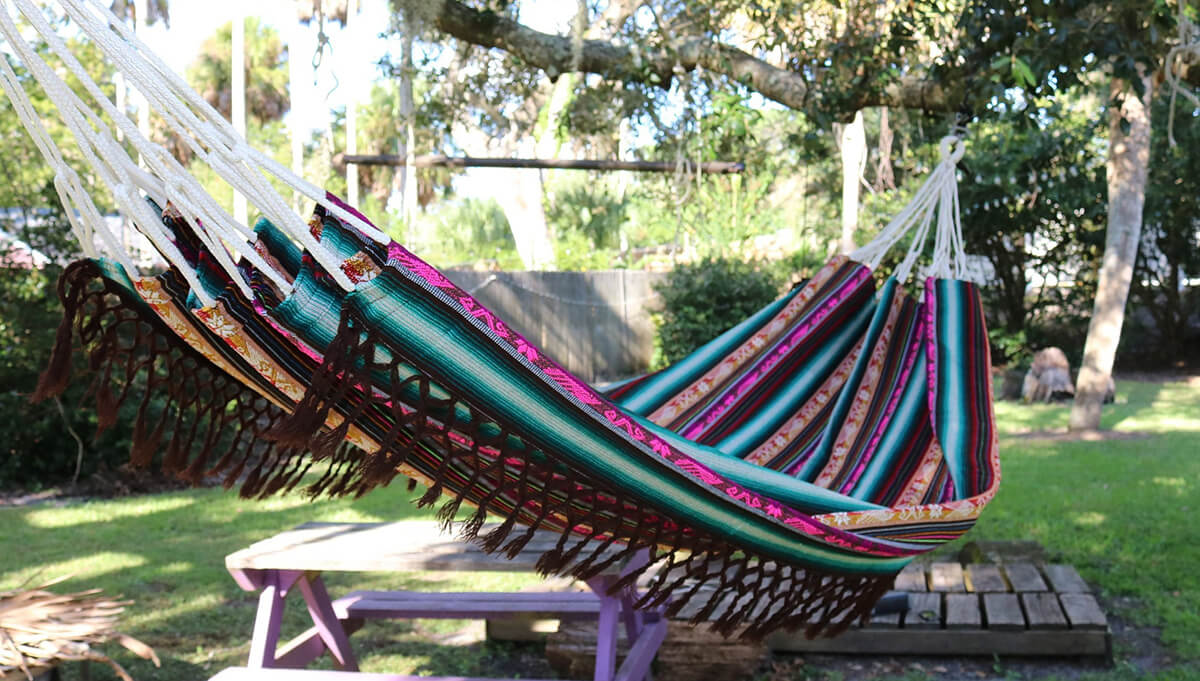 Vibrant Patterned Hammock for Swinging and Sleeping