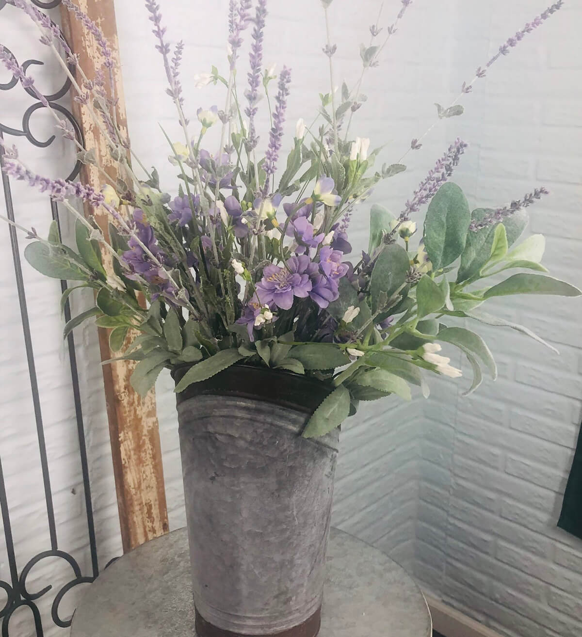 A Rustic Lavender Tabletop Arrangement