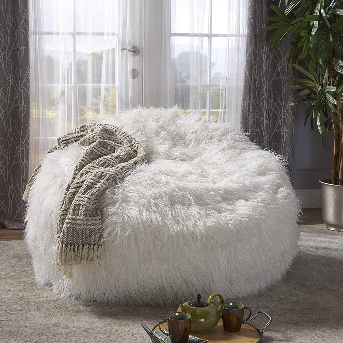 Lycus White Faux Fur Bean Bag Chair