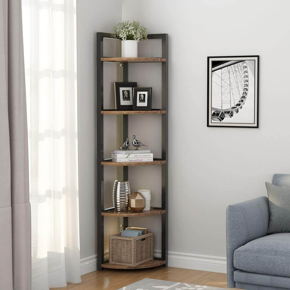 Rustic 5-Tier Wood and Metal Bookcase