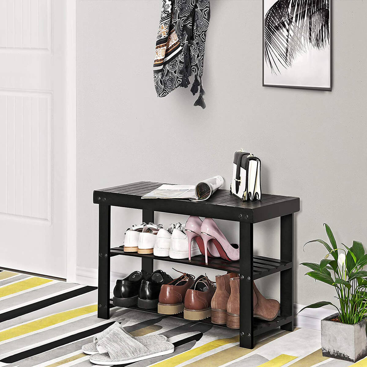 Beautiful Black Bamboo Shoe Rack Bench