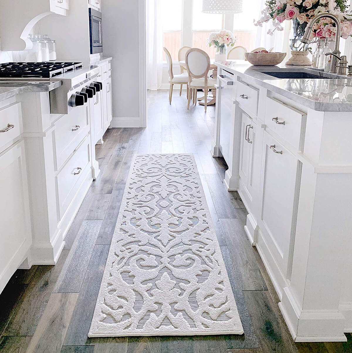 Durable Lace-Patterned Runner Rug