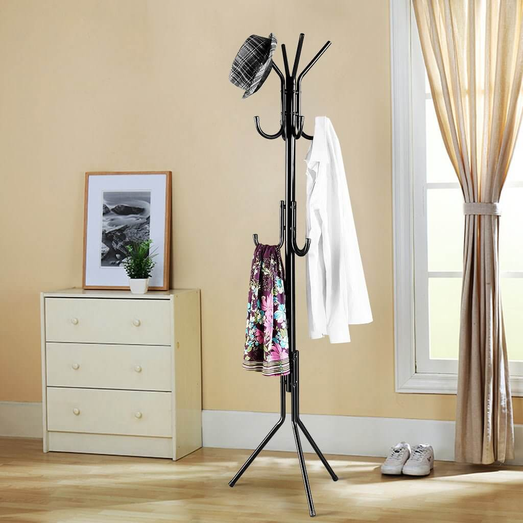Elegant White Standing Entryway Coat Rack