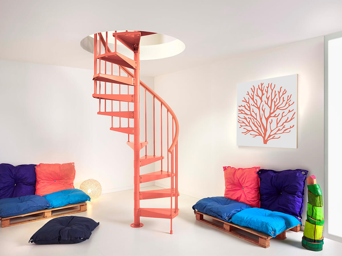 Steel Spiral Stairs with a Bold, Artistic Structure
