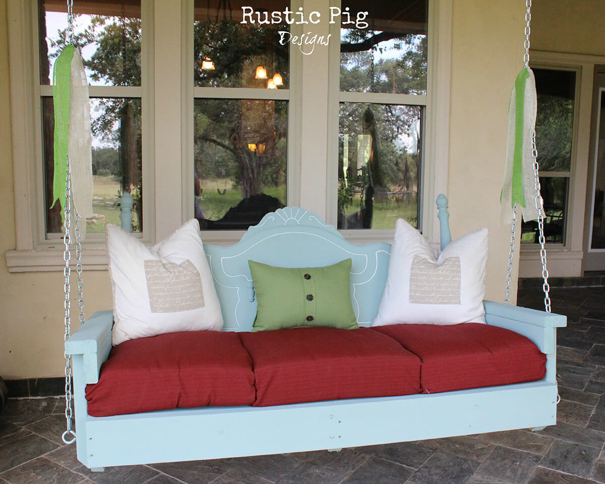 Charming Headboard Back Porch Swing