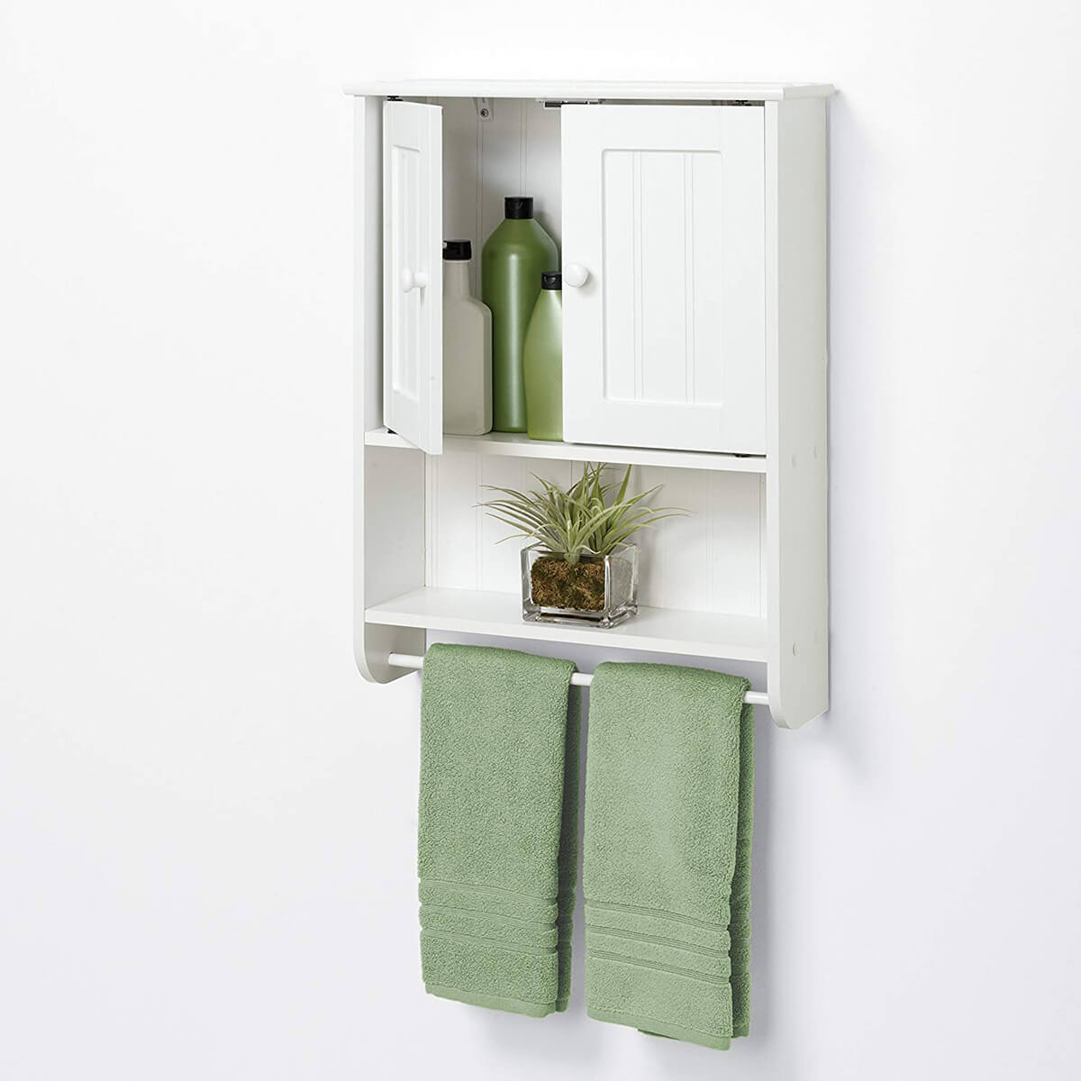 Small Wall Cabinet with Towel Bar