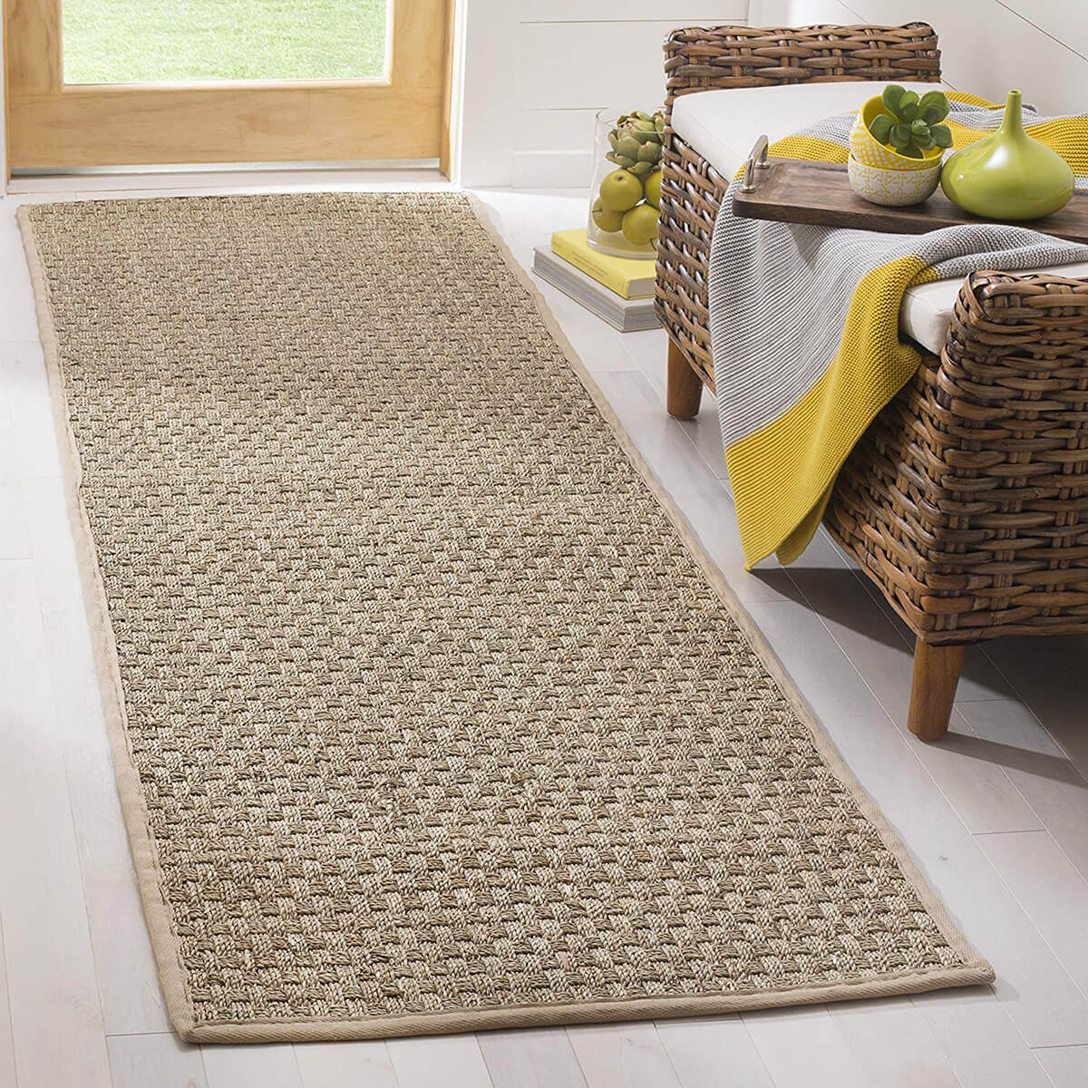 Natural Fiber Woven Patterned Runner