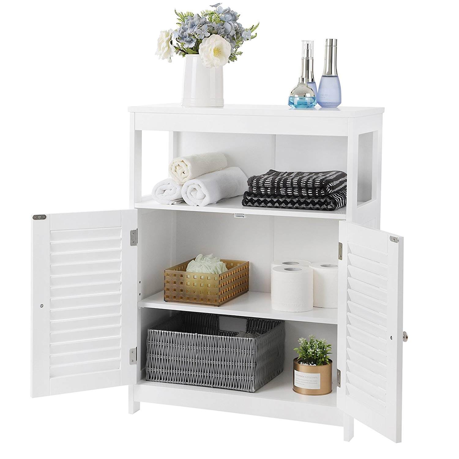 Free Standing Bathroom Cabinet with Shutter Style Doors