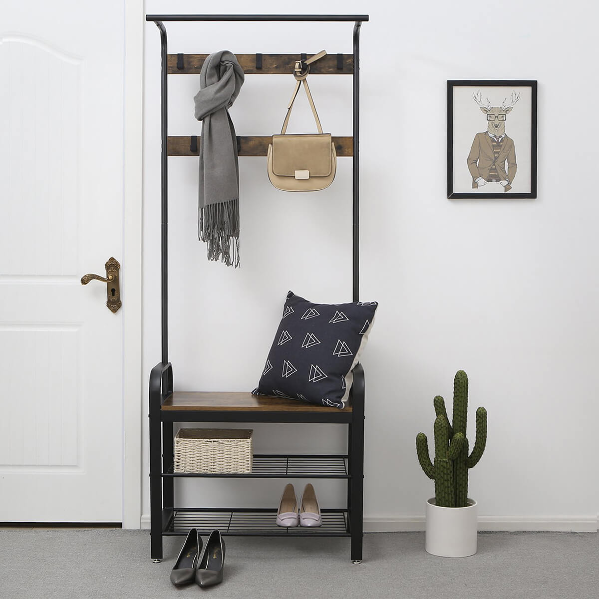 Utilitarian Three-in-One Coat Rack and Bench