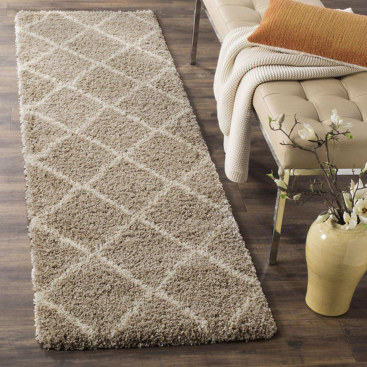 Supremely Soft Shag Diamond-Patterned Runner