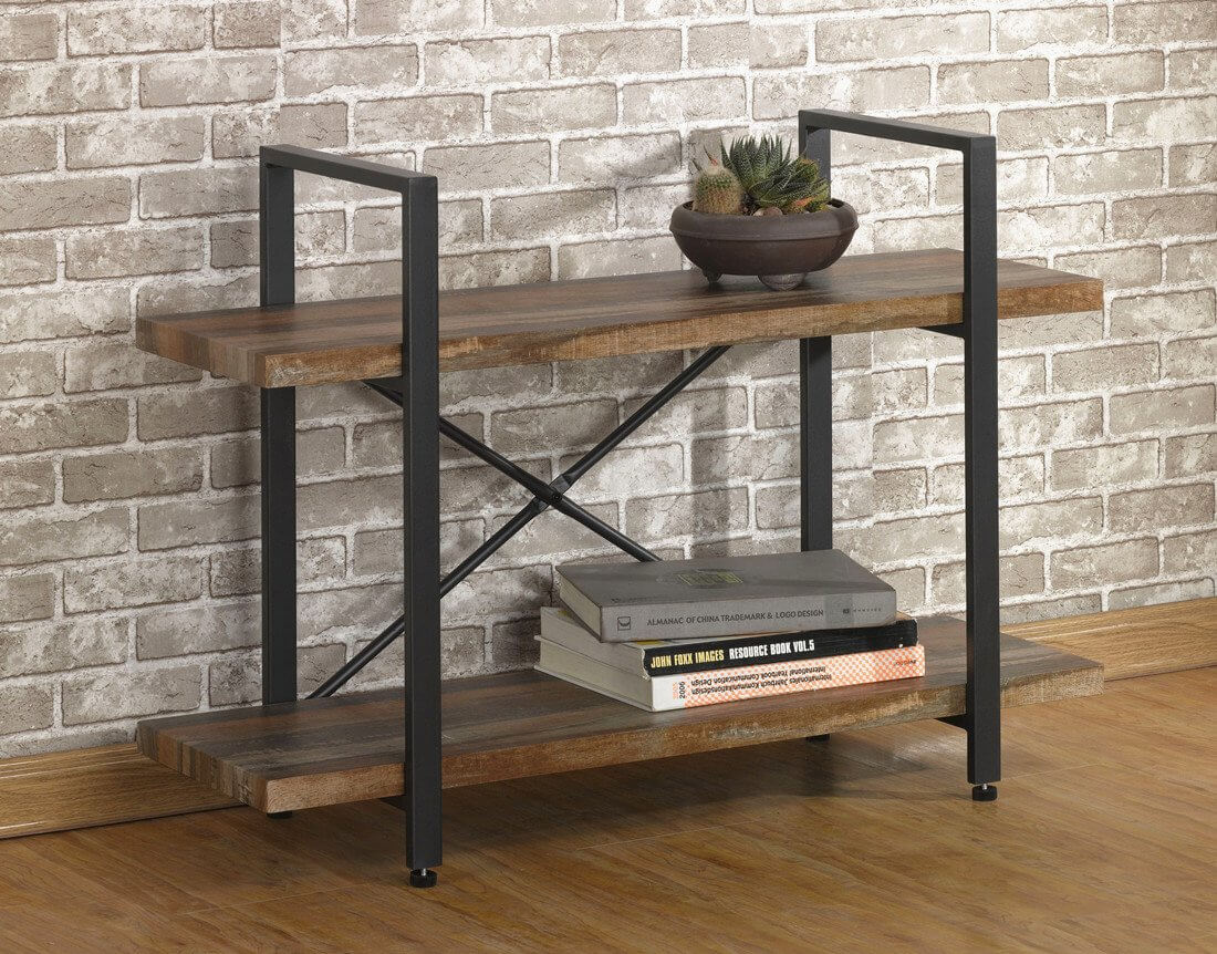 Modern and Rustic Wood and Metal Bookshelf