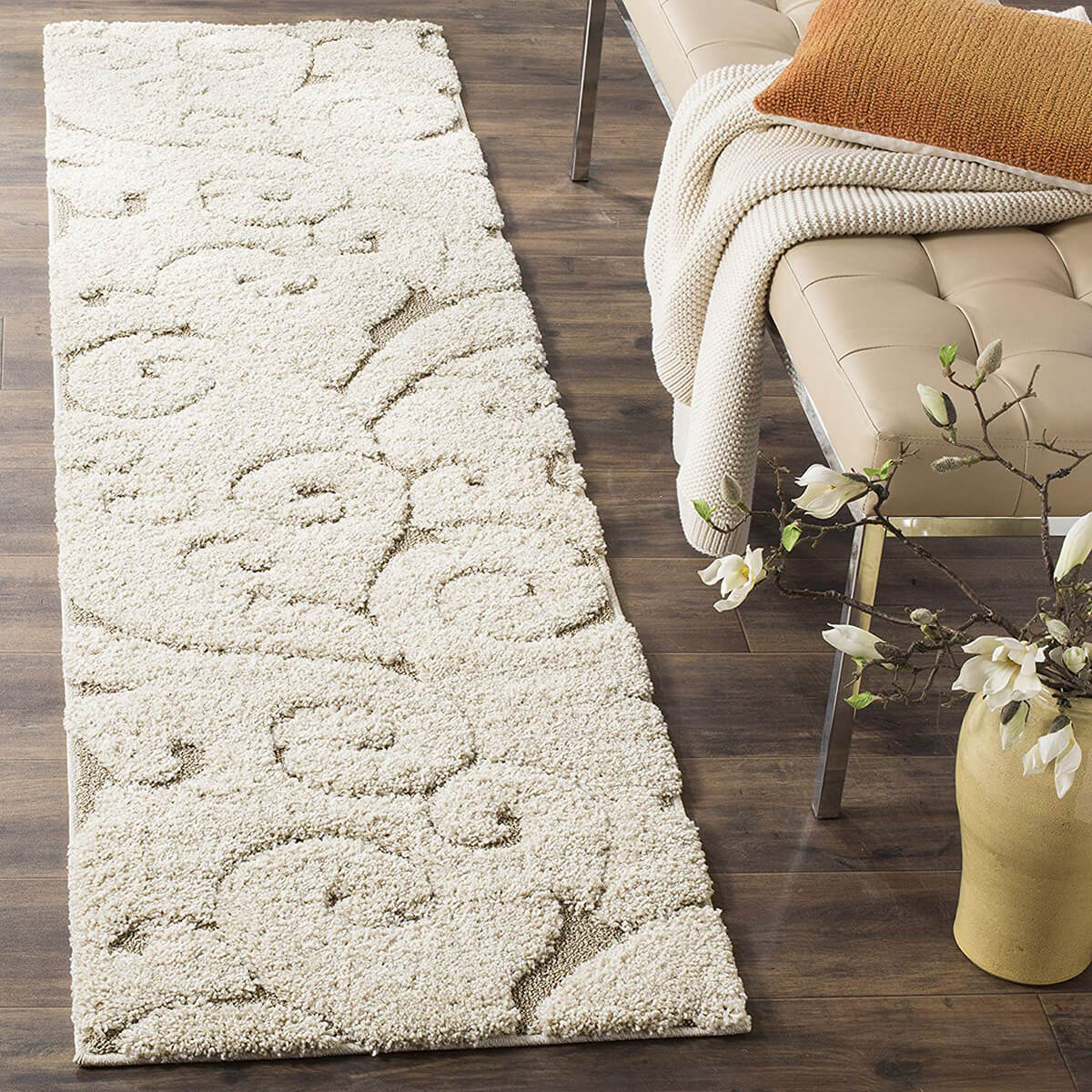 Plush Swirled Patterned Long Rug