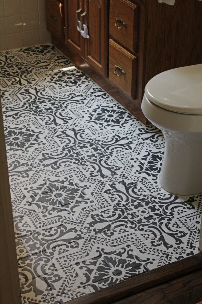 Black and White Stenciled DIY Bathroom Flooring