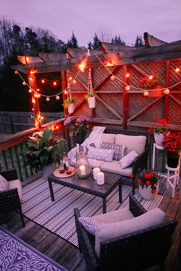 Romantic Deck Design Ideas include Stringed Lights