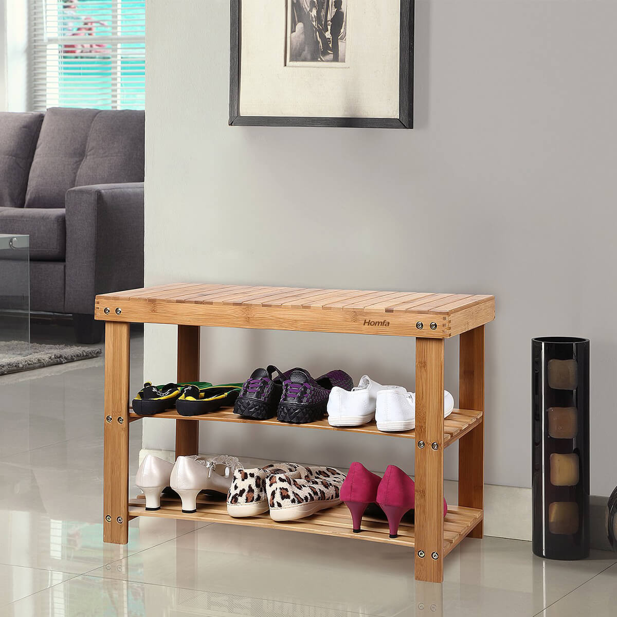 Natural Bamboo Shoe Rack Evokes the Beach