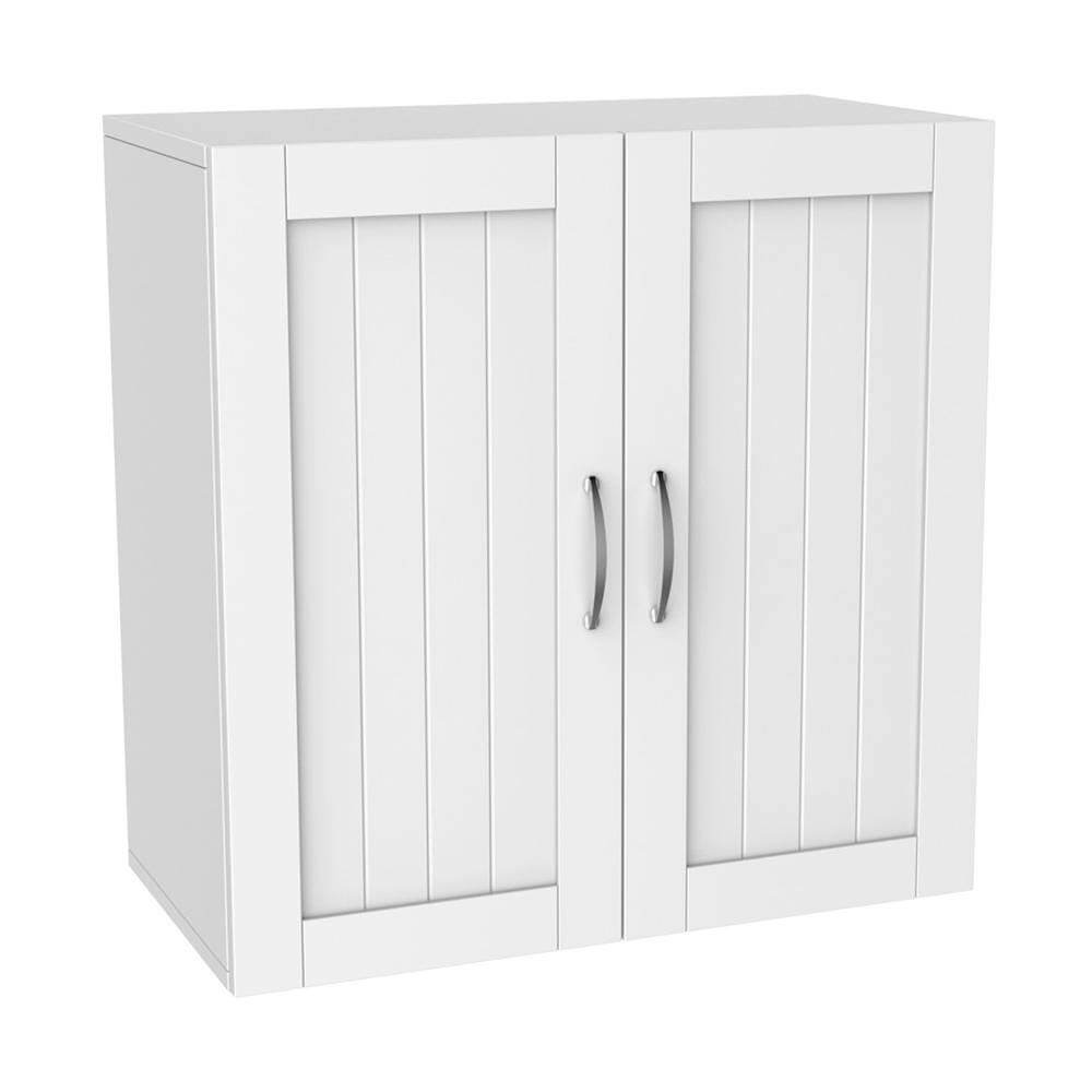 White Paneled Door Wall Cabinet for Laundry Room